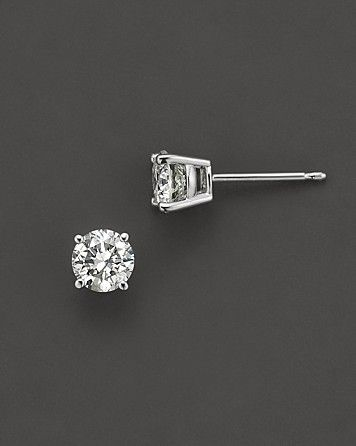 f4e8af395 Colorless Certified Round Diamond Stud Earring in 18K White Gold, 0.30 ct.  t.w.-1.0 ct. t.w. | Bloomingdale's