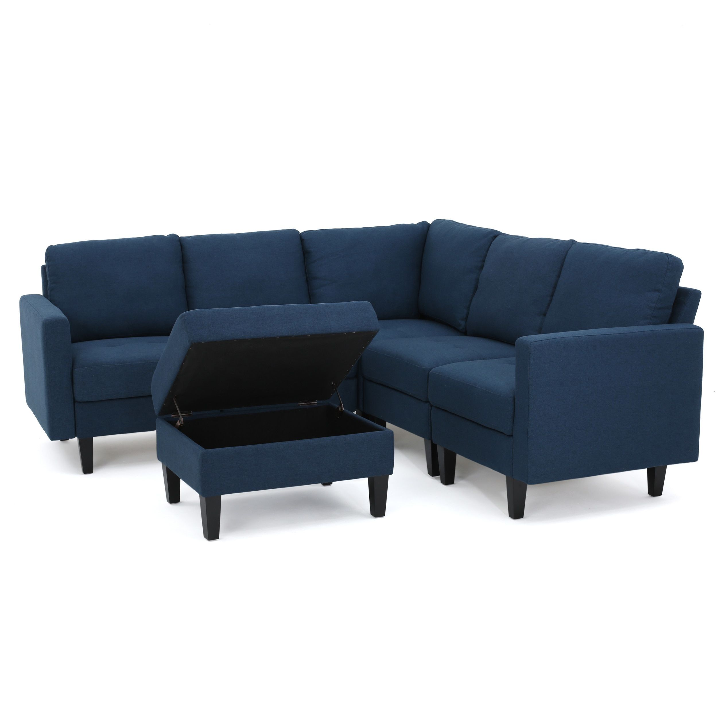 Zahra 6 Piece Fabric Sofa Sectional With Storage Ottoman By Christopher Knight Home Couch With Ottoman Fabric Sectional Furniture