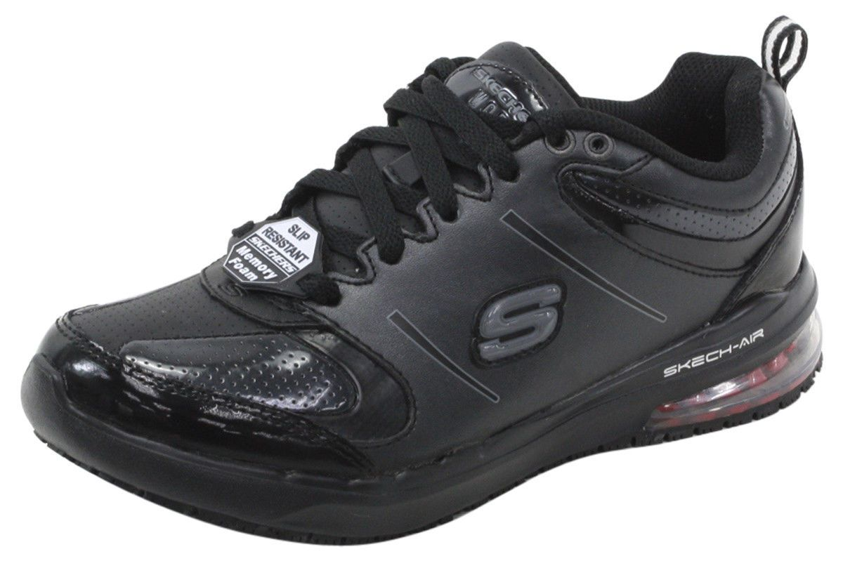 cc3f435d8e6d Skechers Women s Skech-Air Lingle Black Memory Foam Slip Resistant Sneaker  Shoes