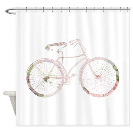 Floral Vintage Bicycle Shower Curtain By Inspirationz Store Cafepress Fabric Decor Fabric Shower Curtains Curtain Decor