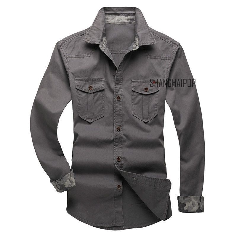YYear Men Long Sleeve Casual Button Up Pockets Cargo Denim Work Shirt