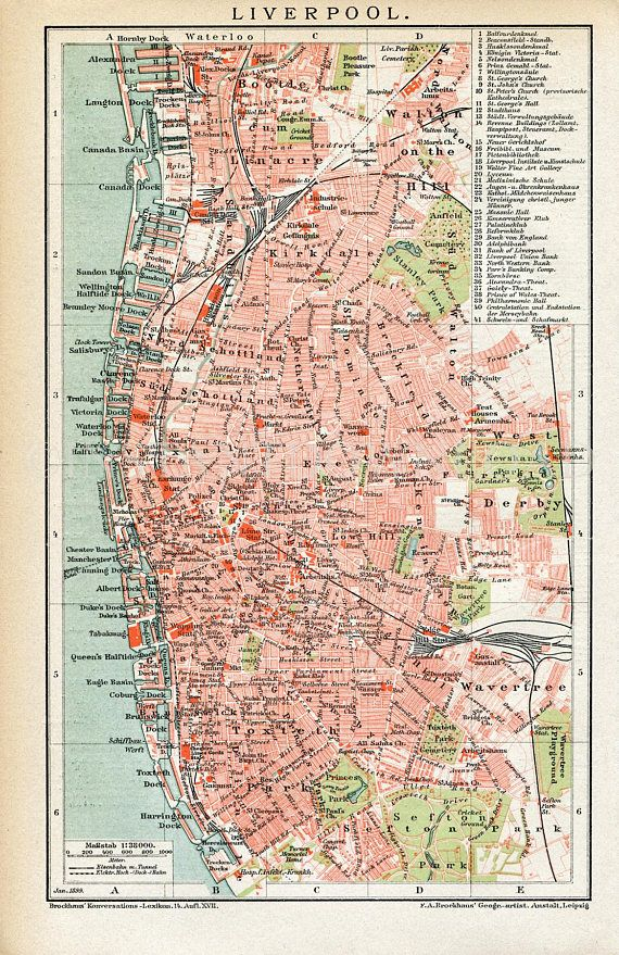 Instant Download Liverpool England Map late 1800s 400 Dpi | INSTANT ...