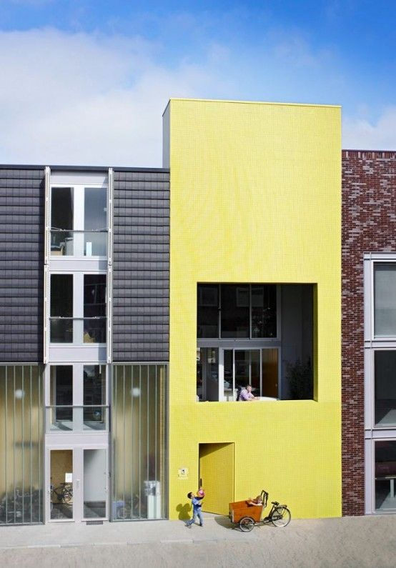 InteriorExterior Villa Design With Modern Style And Yellow Wall