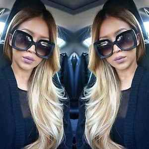 637cb0f65dc Large Oversized Square Sunglasses Gradient Lens Thick Retro Frame Women  Fashion