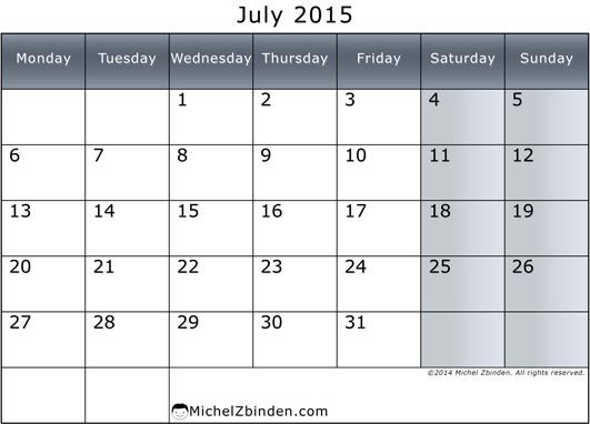 2015 July Calendar Get An Exclusive Collection Of July 2015