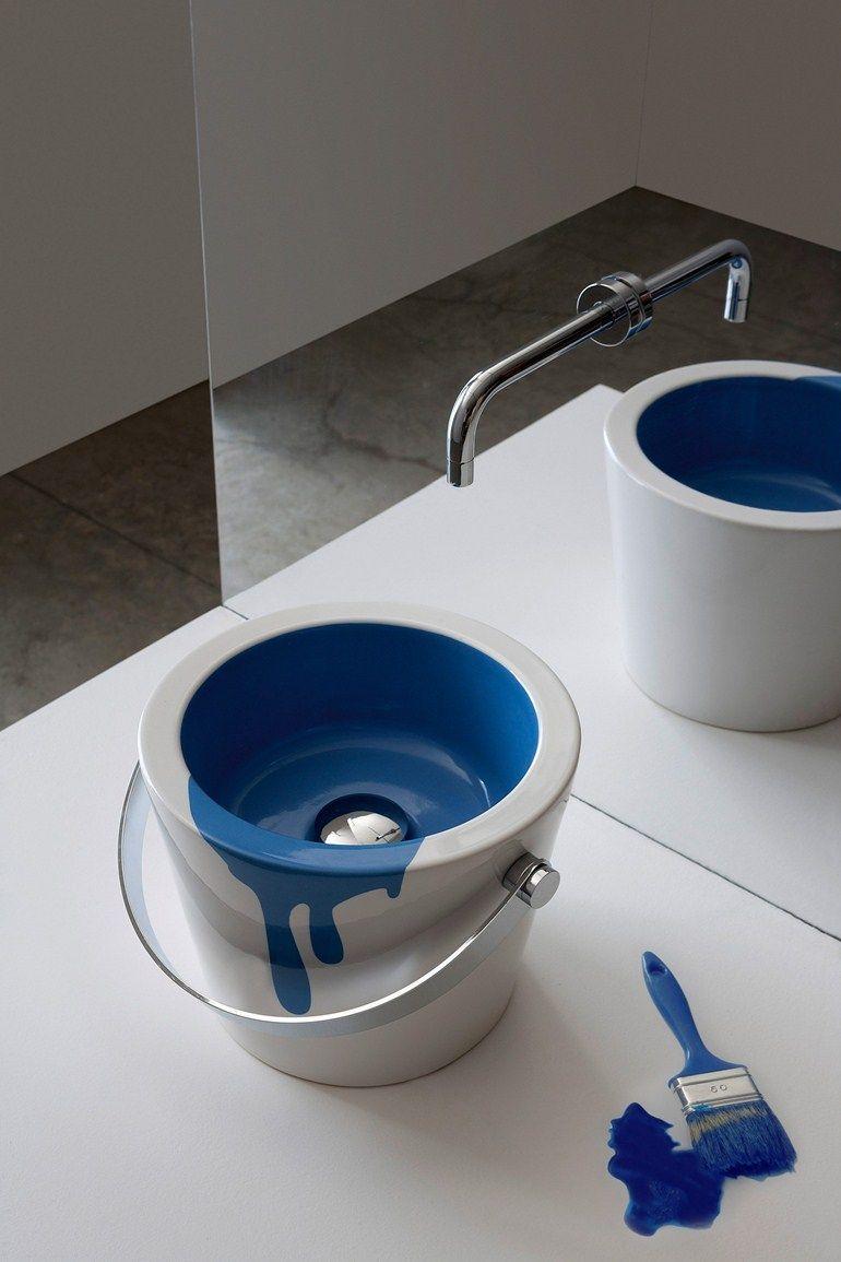 Countertop round ceramic washbasin BUCKET by Scarabeo Ceramiche   #design Giovanna Talocci