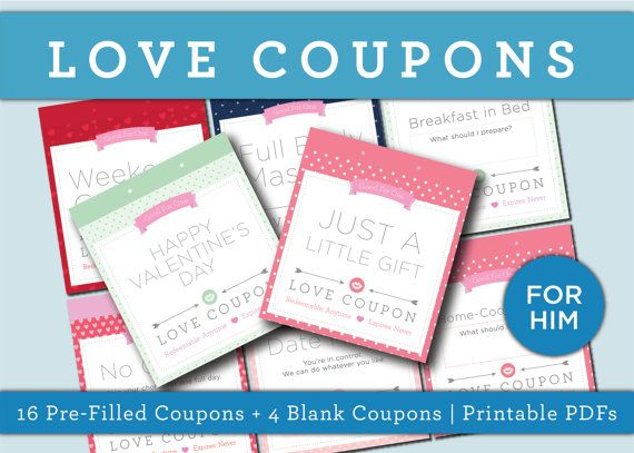 Birthday Gift Coupon Template Love Coupon Printable Valentine's Anniversary Birthday Gift For .