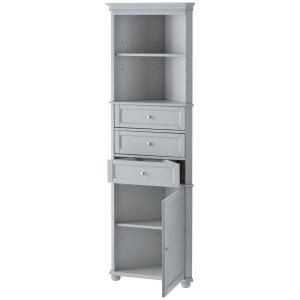 Home Decorators Collection Hampton Harbor 23 In W X 13 In D X 67 1 2 In H Corner Linen Storage Cabinet In Dove Grey Bf 21893 Dg The Home Depot Corner Linen Cabinet Bathroom