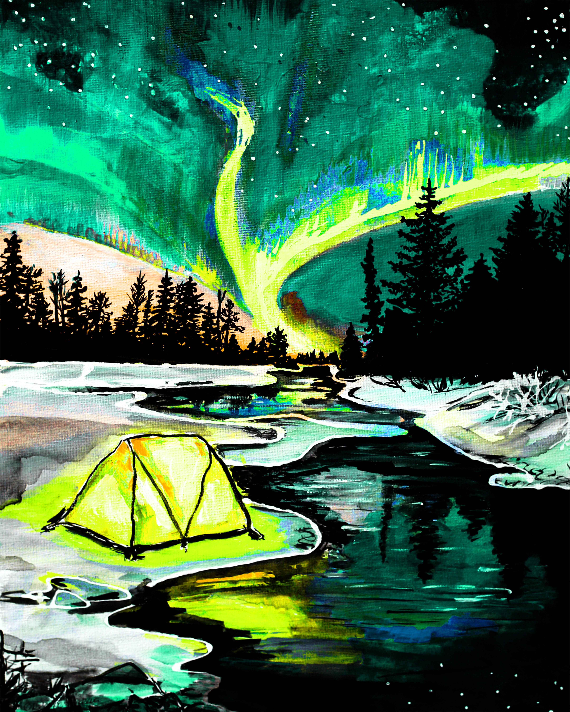 Tent Under Northern Lights - Teal -