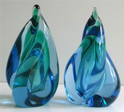 Multi-colour Murano bookends