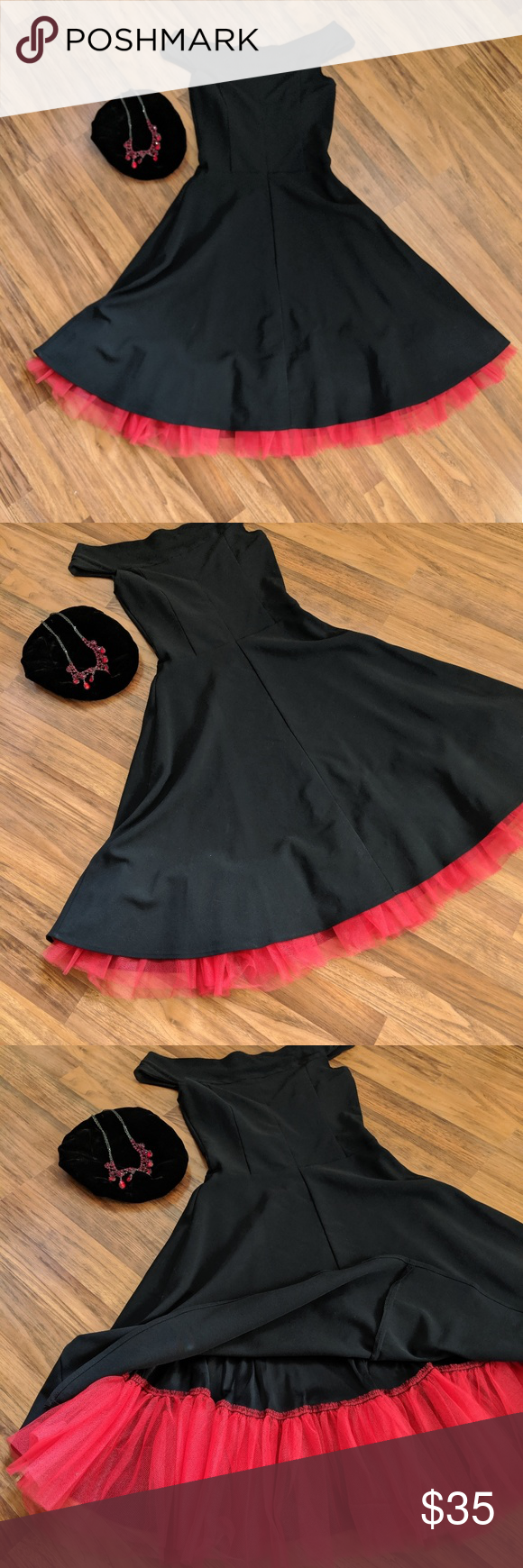 Ruby rox black Dress full Ruby rox black sleeveless dress has stretch to it underneath is a red netting super cute no rips no tears perfect condition great for any occasion if you'd like to stand out in a crowd.. just remember this house a lot of stretch to it you could fit a 4 Ruby Rox Dresses Midi #blacksleevelessdress