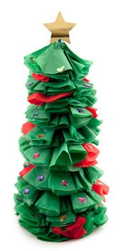 Made from styrofoam and tissue paper, this is a fun, hands on Christmas Tree Craft that allows kids to showcase their creation as a Christmas table Centerpiece.