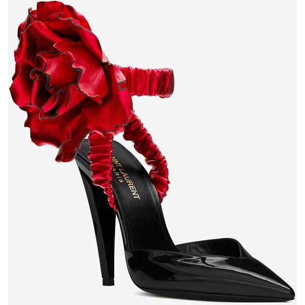 95632eb420f Saint Laurent FREJA 105 pump with red flower in black patent leather  ($2,970) ❤