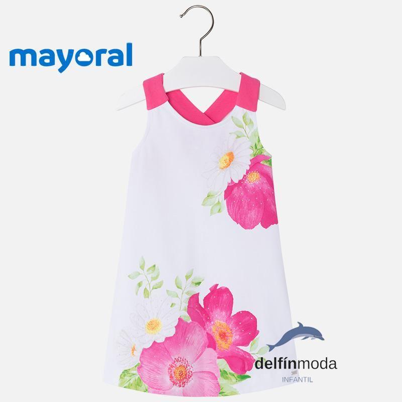 ee1259e7c Vestido playero niña MAYORAL de tirantes flor grande fucsia