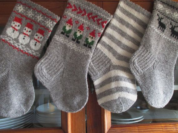 Christmas Stockings Personalized Wool Small knit Red Grey White ...
