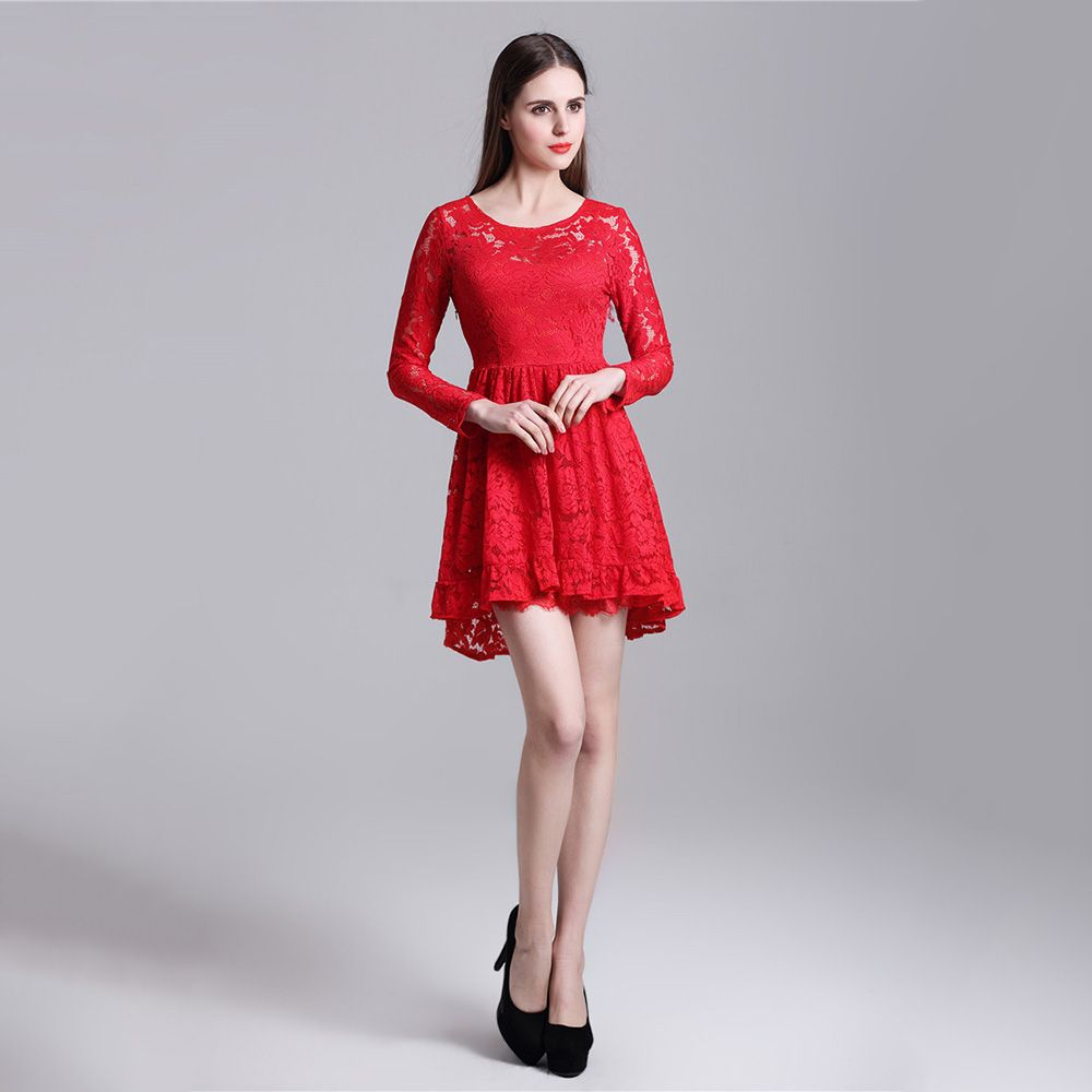 Click to buy ucuc new red short prom dress lace knee length long