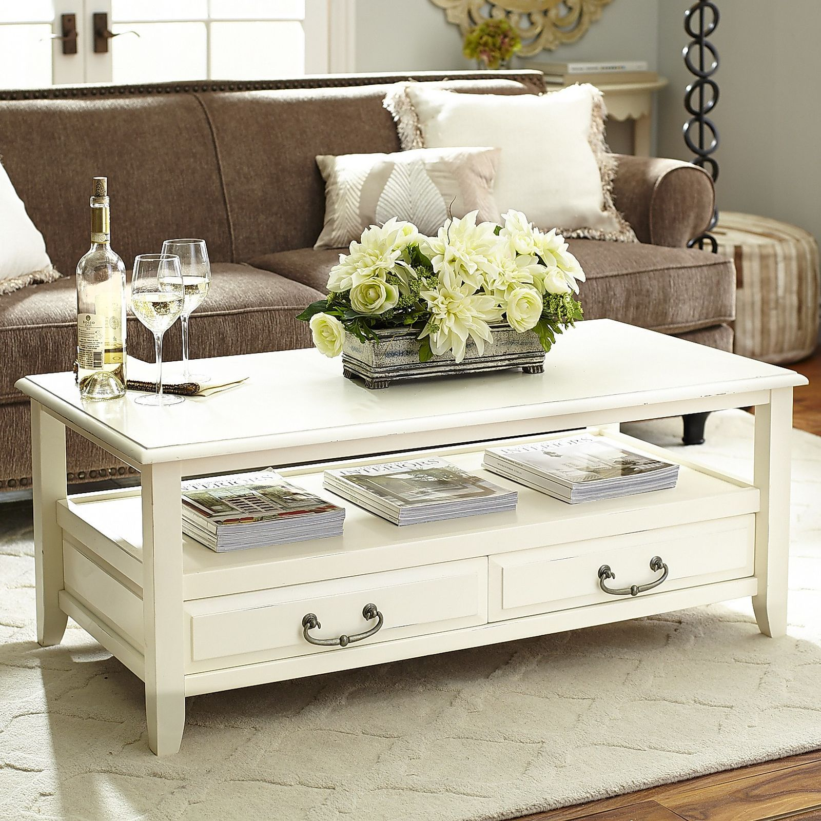 Anywhere Antique White Coffee Table With Pull Handles Pier 1