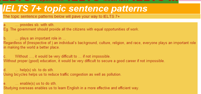 Topic Sentence Patterns Ielts 7 Topic Sentences Sentence