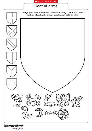 A shield template for children to create and colour their