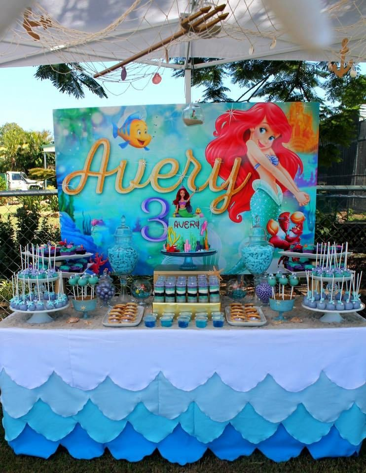 The little mermaid birthday party decorations a pequena for Ariel decoration party