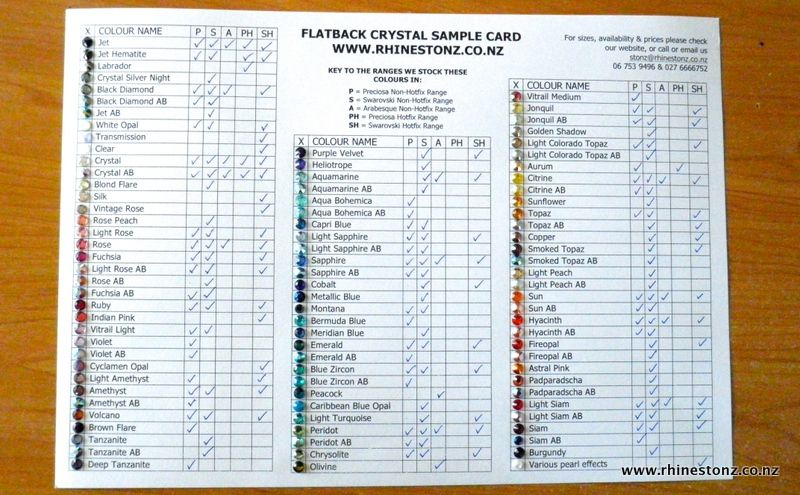 Sample Card showing all the colours we stock across all our - sample chart