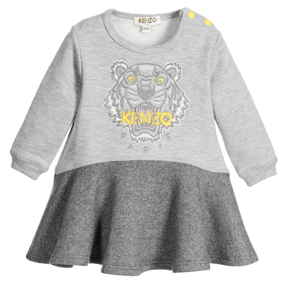 aee1b7ddca84 Kenzo Baby Girls Grey Tiger Sweatshirt Dress