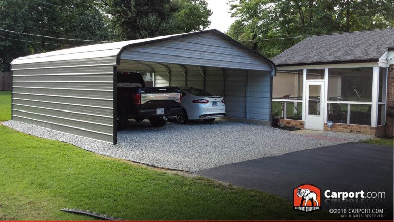 Double Wide Carport 20' Wide x 21' Long x 8' High Metal