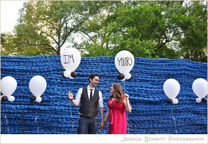 Creative Engagement Photography at Madison Square Park Art, NYC, Orly Genger, #engagement #weddingphotography #nyc #art #balloons