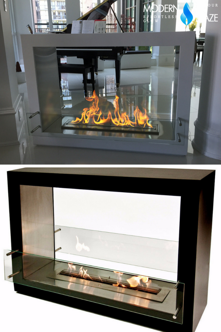 The Bio Flame Sek Xl 53 Free Standing See Through Ethanol Fireplaceblack Freestanding Fireplace Ethanol Fireplace Fireplace Lighting