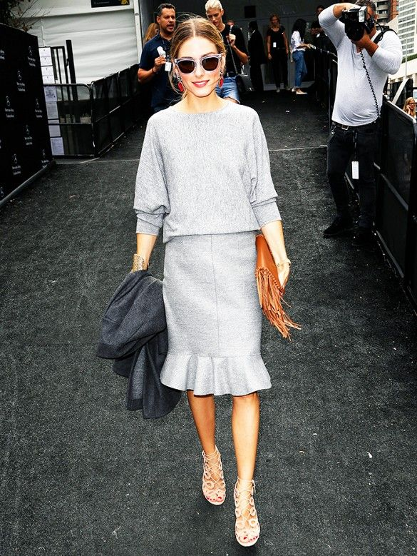 Olivia Palermo pairs a monochrome look with nude strappy Aquazurra heels