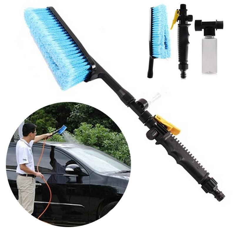Car Cleaning Brush Retractable Long Handle Wash Windshield Spray Nozzle Switch Foam