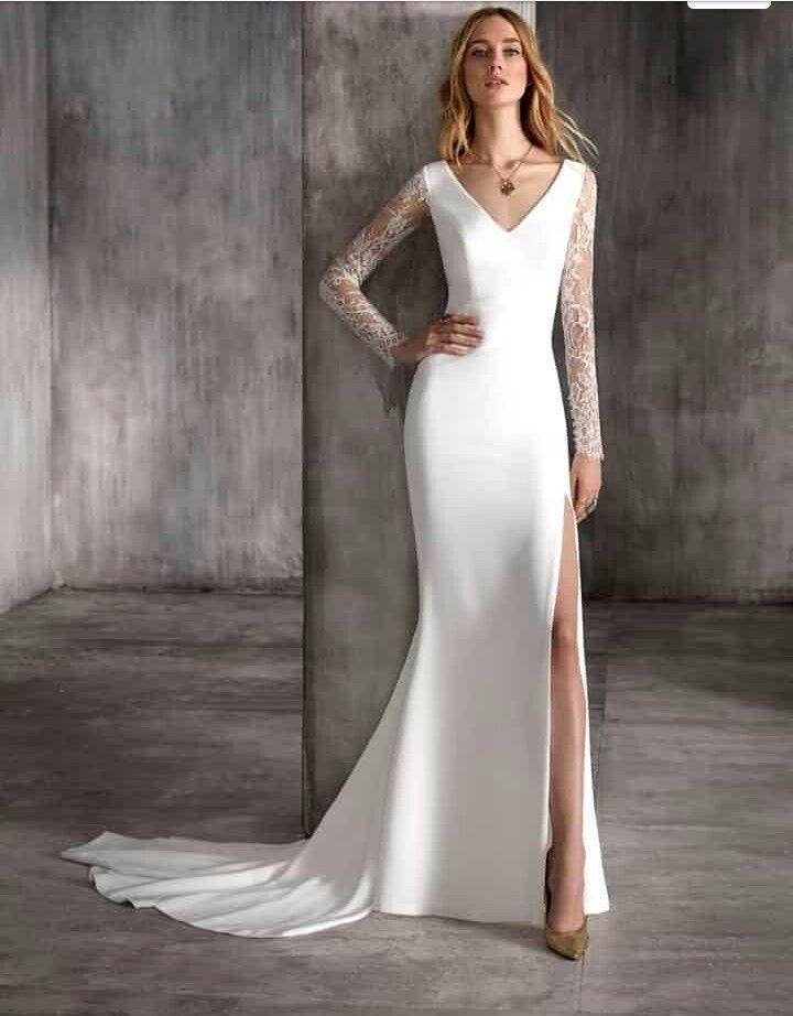 """vestido máxima de manu garcía 2018   vestidos de novia con """"tajo al"""