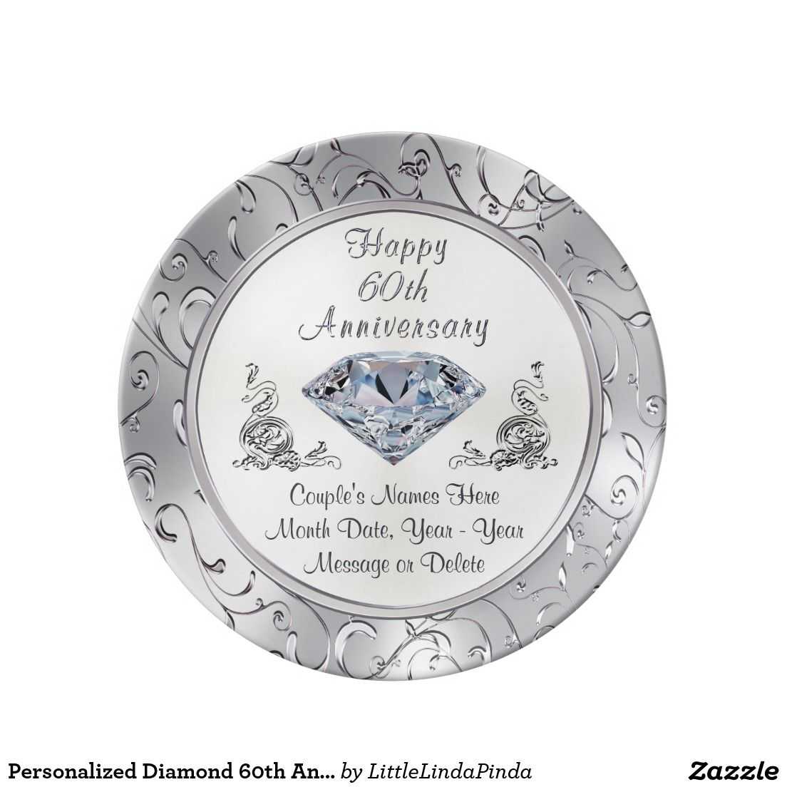 Gifts For 60th Wedding Anniversary: Personalized Diamond 60th Anniversary Plate