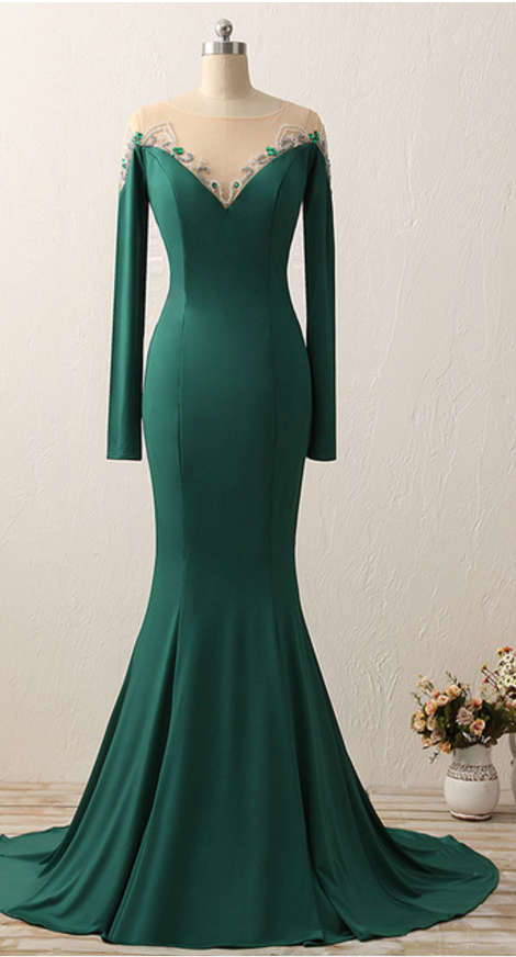 100% Real Photo Satin Mermaid Scoop Neck Long Evening Dresses 2017 Long  Sleeves Beaded Floor Length Evening Dress a38efc3a8
