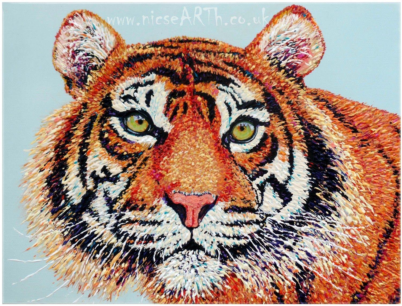 Tiger commission in impasto acrylic - #wildanimal #endangered #bigcat #tiger #art