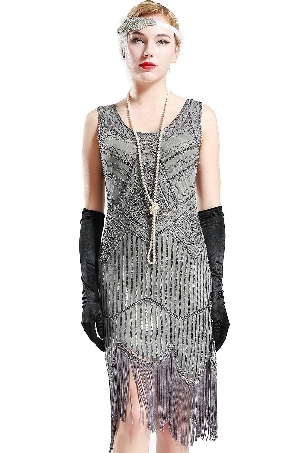 8865a1ff47e78 AmazonSmile  BABEYOND 1920s Flapper Dress Roaring 20s Great Gatsby Costume  Dress Fringed Sequin Dress Embellished Art Deco Dress  Clothing