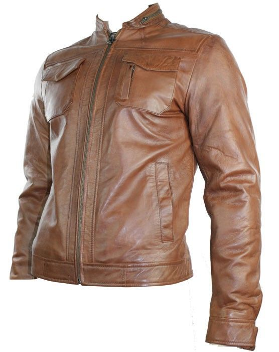 Mens Real Leather Jacket Biker Style Tan Brown Zipped Design ...