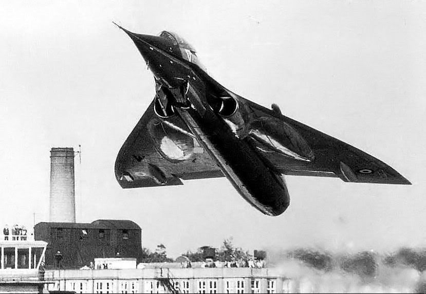 """Bristol BAC.221 (1964) was a modification of Fairey Delta 2 with """"ogee delta"""" wing design which was used on the Concorde SST. It featured a new wing, engine inlet configuration, a Rolls-Royce Avon RA.28, modified vertical stabilizer and a lengthened undercarriage to mimic Concorde's attitude on the ground."""