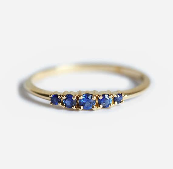 Blue Sapphire Ring With Five Stones In Yellow Gold Etsy In 2020 Blue Sapphire Wedding Ring Blue Sapphire Rings Ruby Wedding Rings