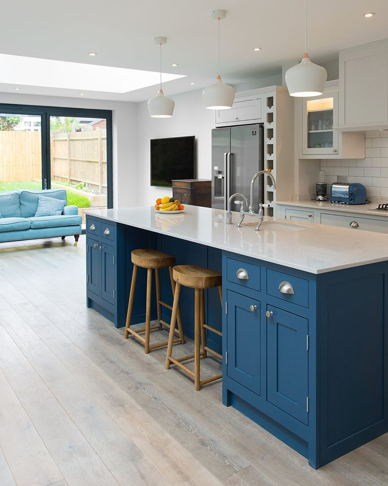 Blue Kitchen Flooring Ideas: Smoked Hand Scraped & White Washed Real Oak Flooring With