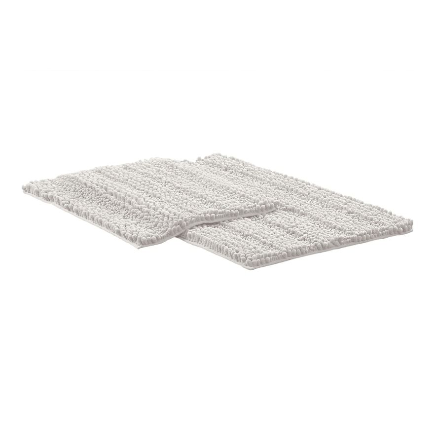 Amrapur 2 Piece Chenille Noodle Bath Mat Set White 2 Pc Set