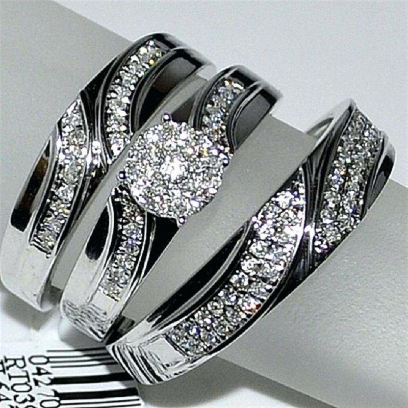 1 10ct Diamond Engagement Ring Bride Groom Trio Set White Gold Fn 925 Silver