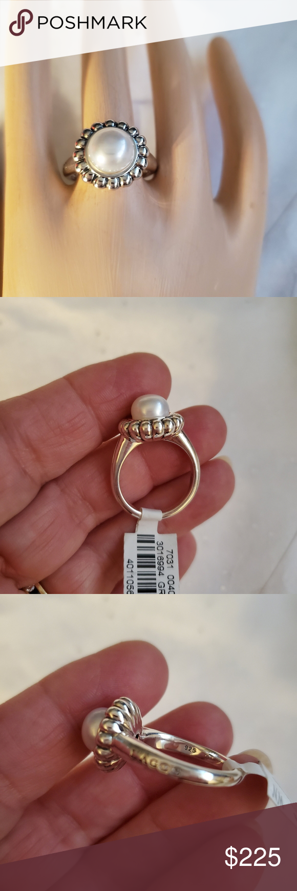 LAGOS Luna Sterling Silver Pearl Ring NWT Silver pearl