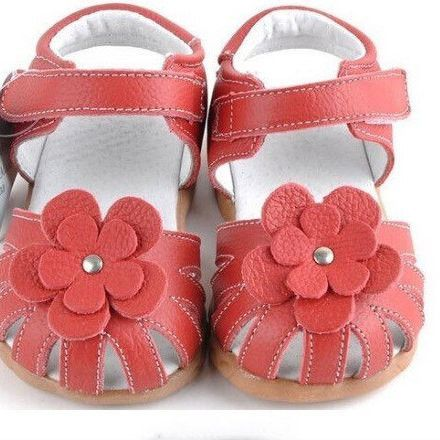 Genuine Leather Toddler Girls Sandals Summer Walker Shoes With Flowers Antislip