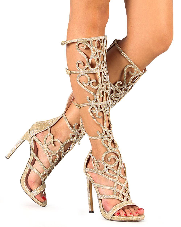 Gold High Heel Gladiator Sandals