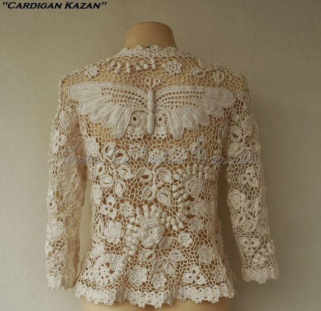 """Ivelise Feito à Mão: """"Cardigan Kazan"""" Confeccionado com a técnica do crochê irlandês moderno e renda de Bruges."""