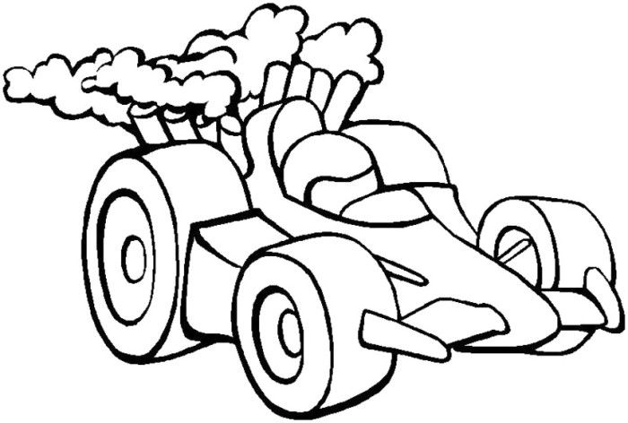 race car speed turbo coloring page - Racecar Coloring Pages