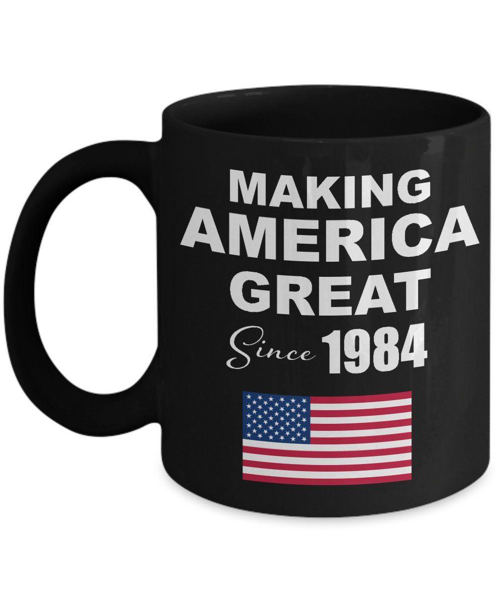Making America Great Since 1984 Black Coffee Mug 35th