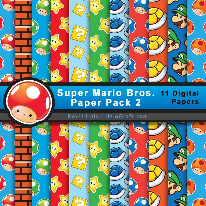 Free Super Mario Bros Digital Paper Pack 2 Super Mario Mario Bros Party Digital Paper