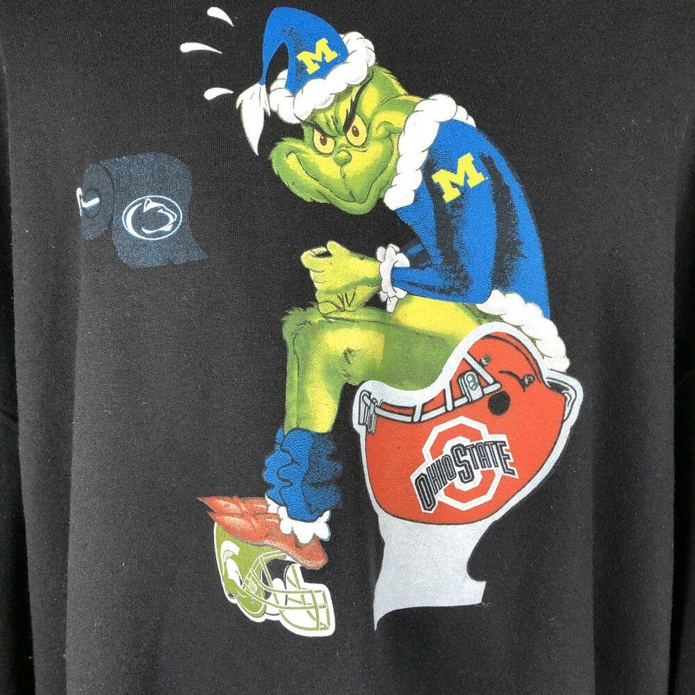 Grinch University Of Michigan Ohio State Crewneck Sweatshirt Helmet Toilet 4xl Hanes Michigan Ohio Ohio State Colors Penn State Logo [ 1000 x 1000 Pixel ]